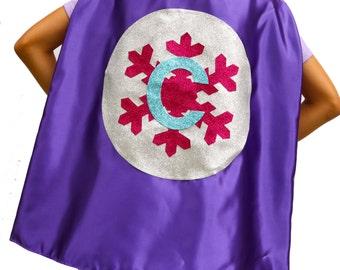 GLITTER SNOWFLAKE CAPE - Sparkle Cape for Girls - Sparkle Superhero - Purple and Silver Girls Cape - Winter Sparkle Cape - Toddler Girl Cape