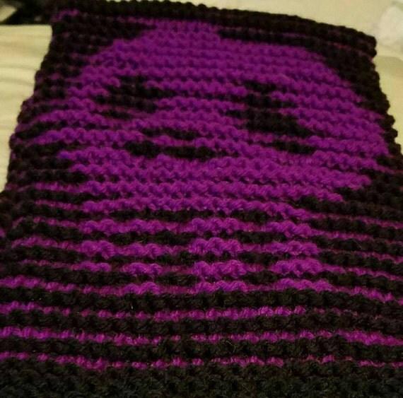 Knitting Pattern Skull Scarf : Gothic knit scarf with skull. Knit scarf with matching