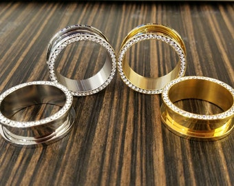 """10g - 1"""" Diamond Gold Steel Tunnels! CHOOSE SIZE and COLOR"""