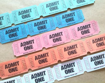 Admit One Tickets ~ 5 Colours ~ Orange, Blue, Pink, White, Green ~ Party Carnival Fair ~ Wedding Invitations ~ Admission Tickets ~ 50 / 100