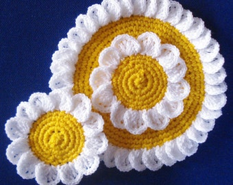 Hand crocheted Camomile doily and two coasters set crochet flower coasters crochet flower coaster crochet doily flower crocheted coaster set