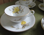 Cotillion Dinnerware by Sango Yellow Roses Cups and Saucers Set of Four (4) 1950s Mid Century Dinnerware Coffee or Tea Cups Sets