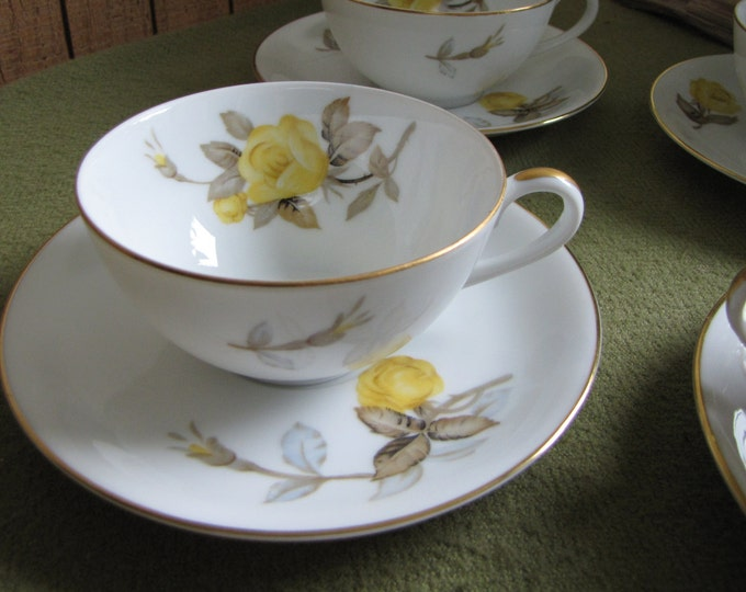 Vintage Cotillion Cups and Saucers Dinnerware by Sango Yellow Roses Set of Four (4) 1950s
