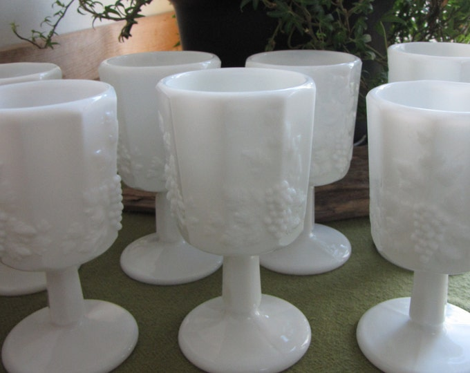 Westmoreland Milk Glass Water Goblets Paneled Grape Set of Seven (7) Vintage Dinnerware