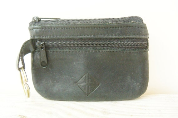 Black Leather Coin Purse Princess Gardner Small Lady's Vintage Snap Change Purse Wallet Genuine Leather 1950s
