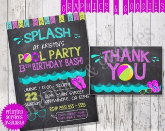 Summer Pool Birthday Party Invitation W/ Matching Thank You Note!