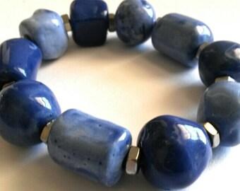 Ceramic Bracelet, Chunky Bracelet, Elastic Bracelet, Blue Beads, Statement Bracelet, Big Blue Beads, Bold Bracelet, Blue Bracelet