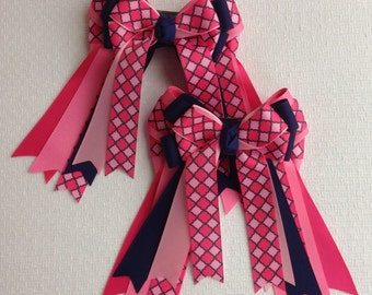 Horse Show Hair Bows, beautiful navy blue, pink hair accessory/Ready2Mail with clips