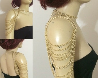 gold shoulder chain / shoulder necklace / shoulder jewelry / body jewelry / body chain