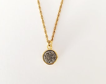 """16"""" Gold Vermeil Chain Necklace with 8mm Round Silver Druzy Stone"""