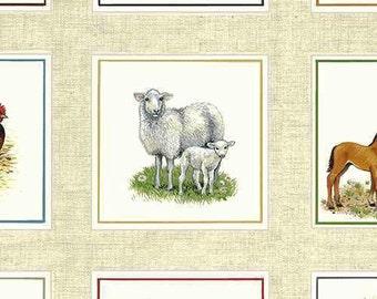 Farm Animals Horses Quilt Fabric Makower UK Out Of Print Premium Cotton Horses Colts Mares