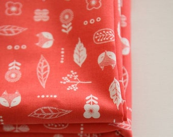 Fox and Flower Pattern Cotton Fabric by Yard (Coral Color)