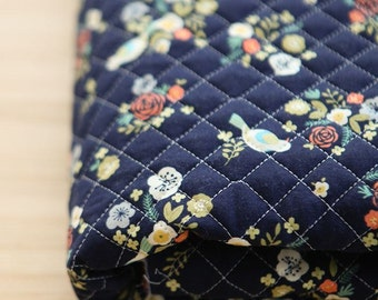 Quilted Lovely Flower and Bird Pattern Navy Cotton Fabric by Yard