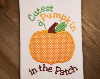Cutest Pumpkin in the Patch Applique - Machine Embroidery Design Instant Download