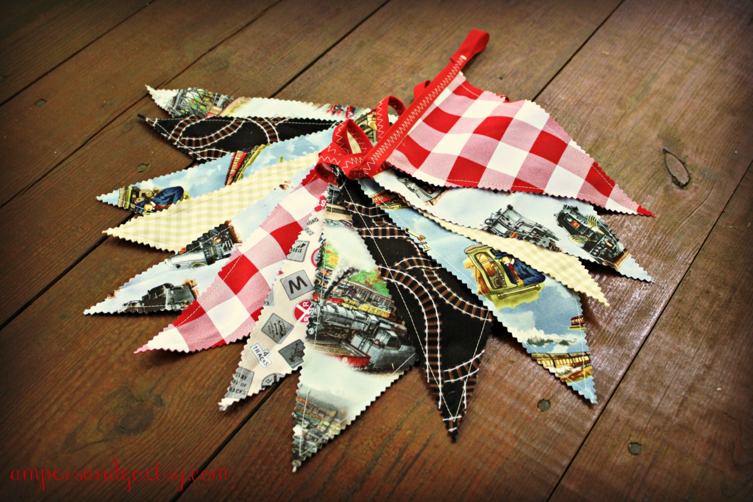 Vintage train banner train fabric flag bunting vintage train for Train themed fabric