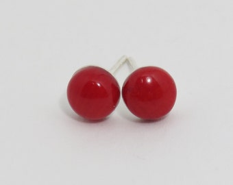 Red Coral Studs, Sterling Silver, 6 mm, Bamboo Coral Stud Earrings,  Red Stone Studs