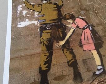 "Banksy street art ""israeli soldier bethlehem"" fine lithogtaph print large size"