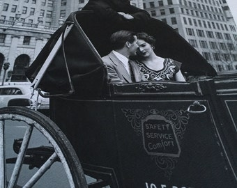 """Vintage couple photograph print horse and buggy great capture Large 11.5 x 12.5"""""""