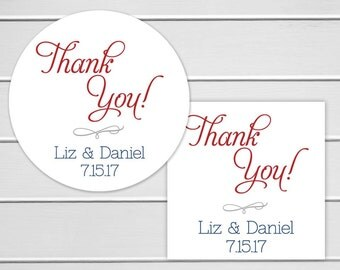 Thank You Wedding Stickers, Wedding Stickers, Thank You Labels, Envelope Seals  (#012)