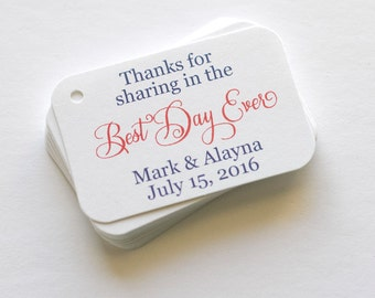 Best Day Ever Tags, Wedding Favor Tags, Small Wedding Favor Tags (RR-016)