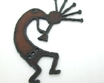 Large Kokopelli Pendant, Rusty Iron Southwest Pendant, 70x48 (1)
