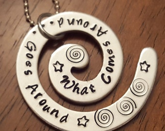 What Goes Around Comes Around Hand Stamped Personalized Necklace What Goes Around Comes Around Karma Necklace