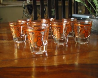 Gorgeous Vintage Shot Glasses Rustic Orange Designs With Gold Gilding Set of Eight