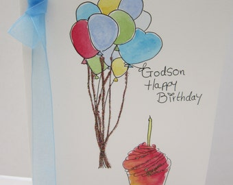 Godson Birthday Card, watercolour card, Godson card, special Godson card, hand painted card, handmade card, birthday card, godson birthday