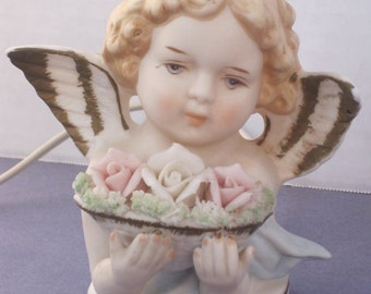 Small Vintage Bisque Angel Night Lite with Roses