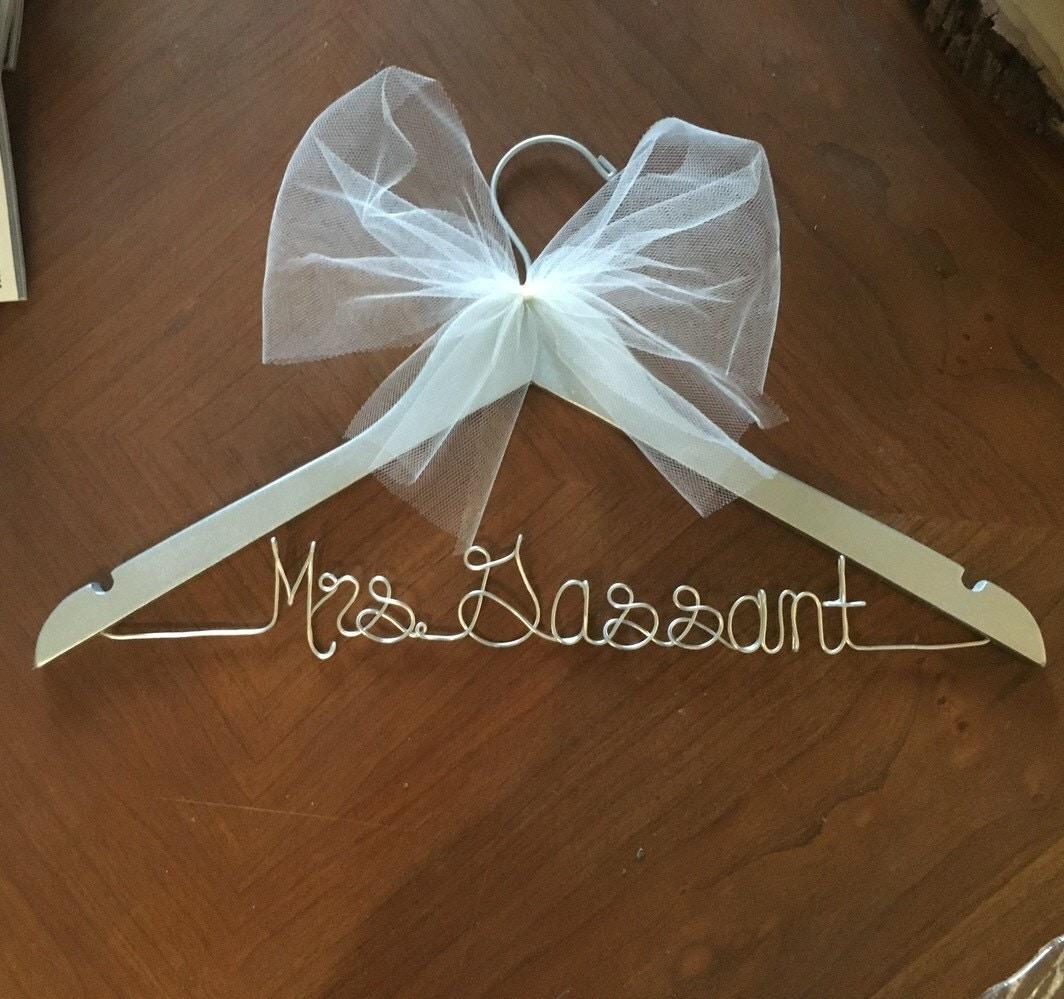 Silver wedding dress hanger bridal hanger shower gift silver for Bride wedding dress hanger