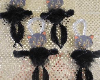 Retro Vintage Black Cat Bump Chenille Halloween Ornaments