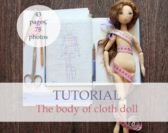 Body of cloth doll, tutorial, pattern, pdf, step by step guide, rag doll body, doll blank, doll sewing pattern, e-pattern, for beginner,