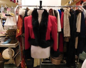 1980's Nolan Miller Short coat With Fox Collar & cuffs