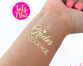 Bachelorette Party, bachelorette tattoo, BRIDES ENTOURAGE, gold tattoo, bachelorette party tattoo