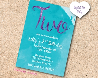 WATERCOLOR Teal & Purple Second Birthday Printable Invitation, Personalized For You, Digital File