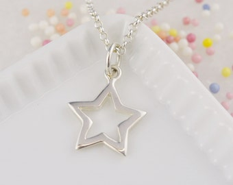Sterling Silver Open Star Charm Necklace