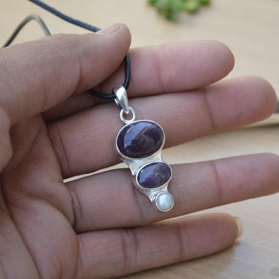 Genuine Star Ruby, South Sea Pearl Pendant, Solid 925 Sterling Silver Pendant, Bezel Handmade Gemstone Pendant, Designer Gift Jewelry