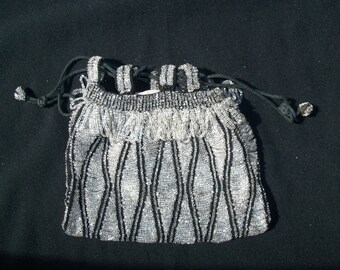 Vintage Black and Clear Crystal Beaded Drawstring Purse, Evening Bag
