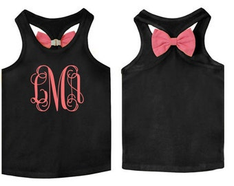 Bow Tank Top for Infants, Toddlers, Girls with Custom Monogram