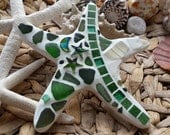 Starstruck Starfish - Love You To The Moon & Stars made with Cornish Sea Glass and Mosaic Tiles