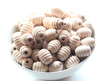 Natural olive wooden beads / Natural and unfinished / BEECH WOOD / wooden beads for jewelry craft projects