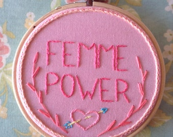 Femme Power - Embroidery - Wall hanging - Hoop Art
