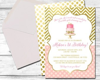 Pink and Gold Birthday Invitation, Invitation, 1st Birthday, First Birthday Invitation, Pink and Gold, Birthday Invitation, Printable 5x7