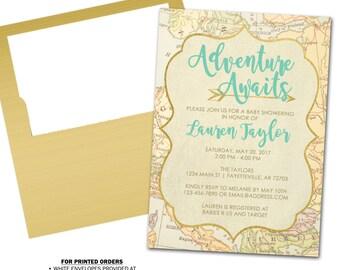 Adventure Awaits Baby Shower Invitation, Adventure Awaits, Explore, Baby Shower Invitation, Shower Invitation, Invite, Printable 5x7