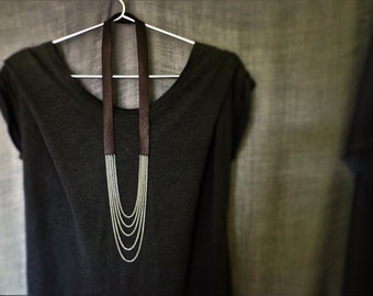 Black leather necklace, Leather and chain necklace, Layered chain necklace, Long necklace, Minimal, Modern