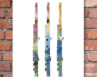 Flute - Art Print - Abstract Watercolor Painting - Jazz Music Wall Decor