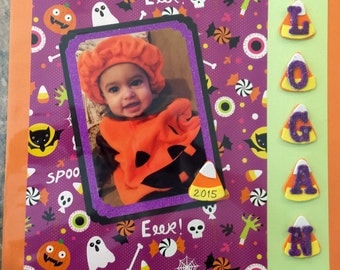 Premade Personalized Halloween Scrapbook Page