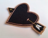 """Hand Embroidered Patch, Heart & Arrow. Black Corazon. Wool Blend Felt Sew On Patch, Customizable, Personalized Gift. Made to Order ~ 4.75"""""""