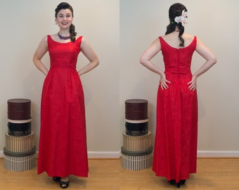 1950s Vintage Dress - Red Damask Gown