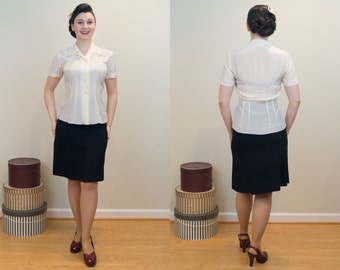 1940s Silk Blouse - Embroidered Cream Silk Tailored Blouse